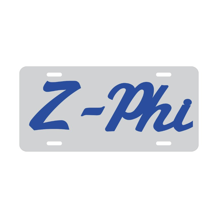 Zeta Z-Phi License Plate (Blue on Silver) - GreekStuff